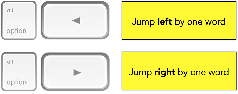 Jump left or right by one word