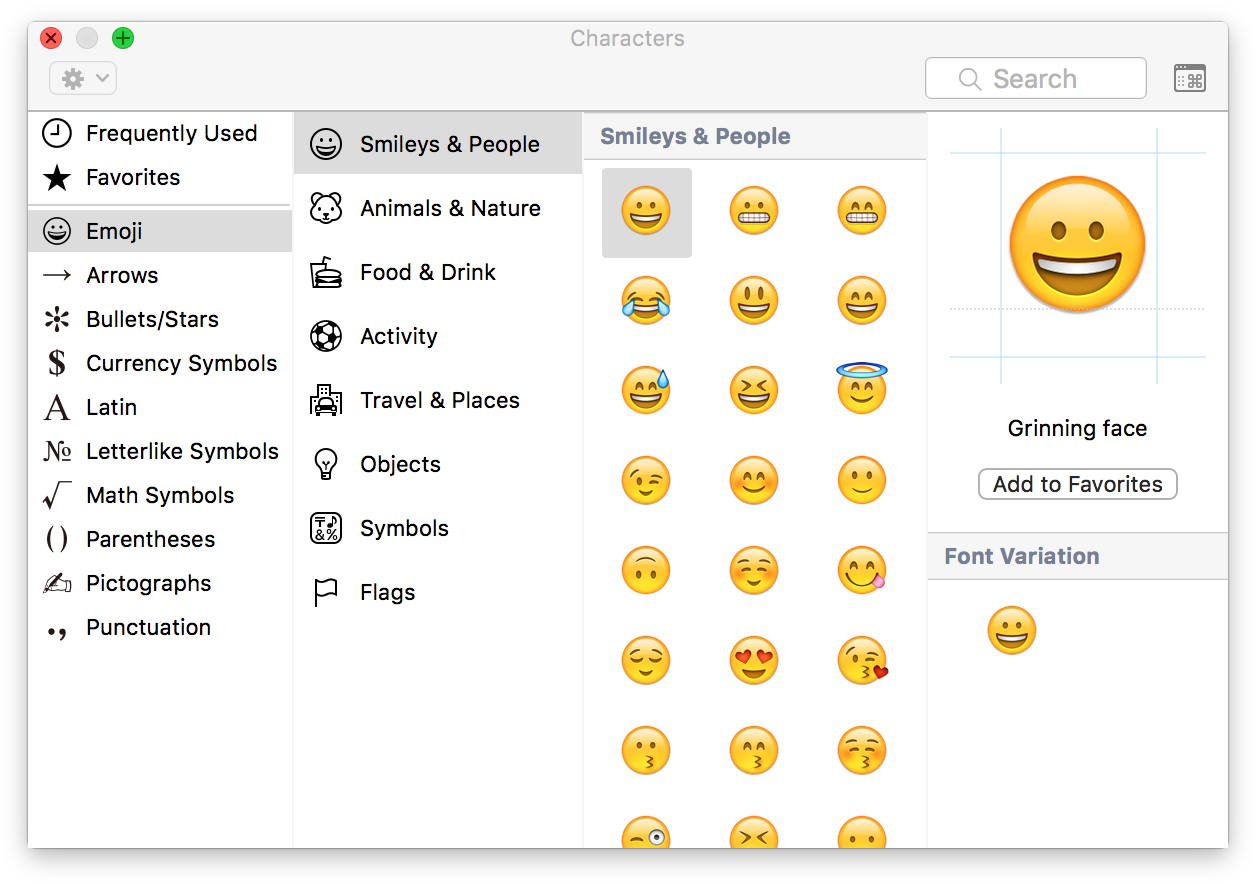 Emojis section of Characters panel