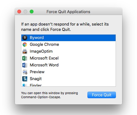 Force an application to quit