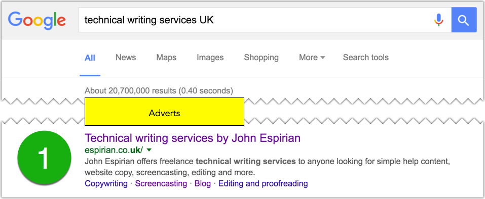 Technical writing services UK search on Google