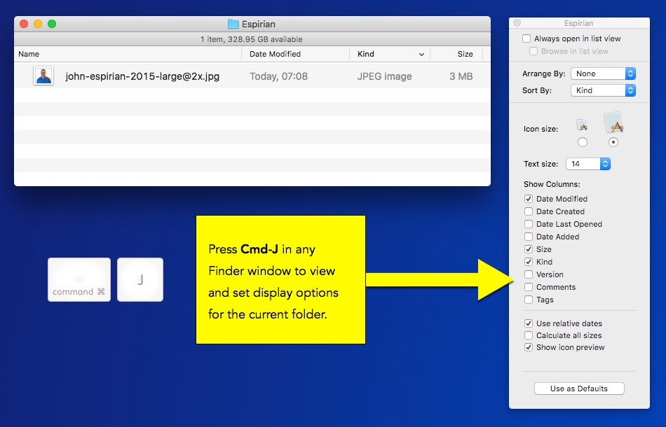 View and edit display options in the Finder