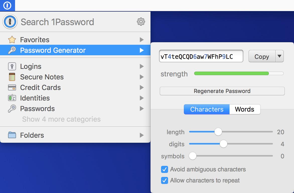 1Password password generator