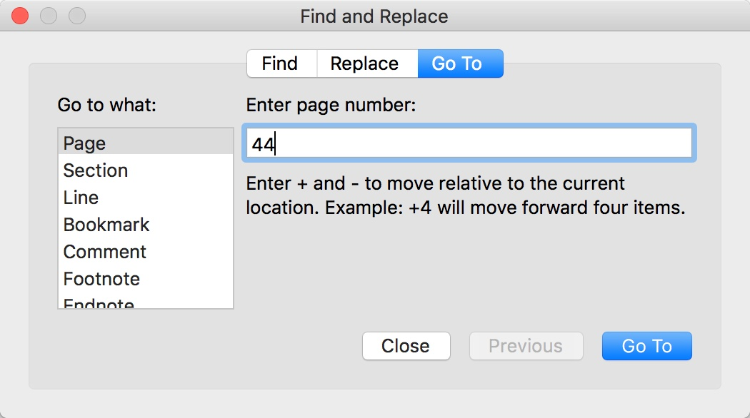 Jump to any page in Word for Mac
