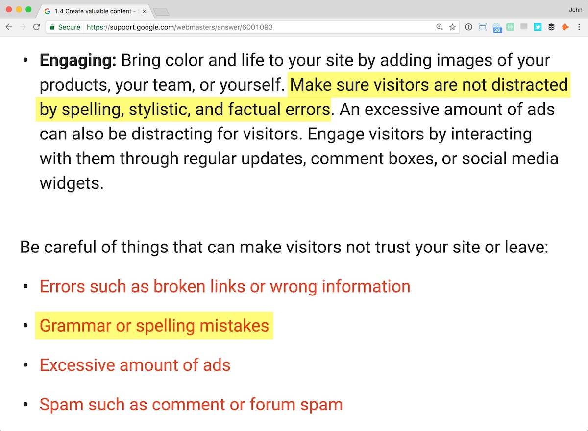 Google advice on spelling errors