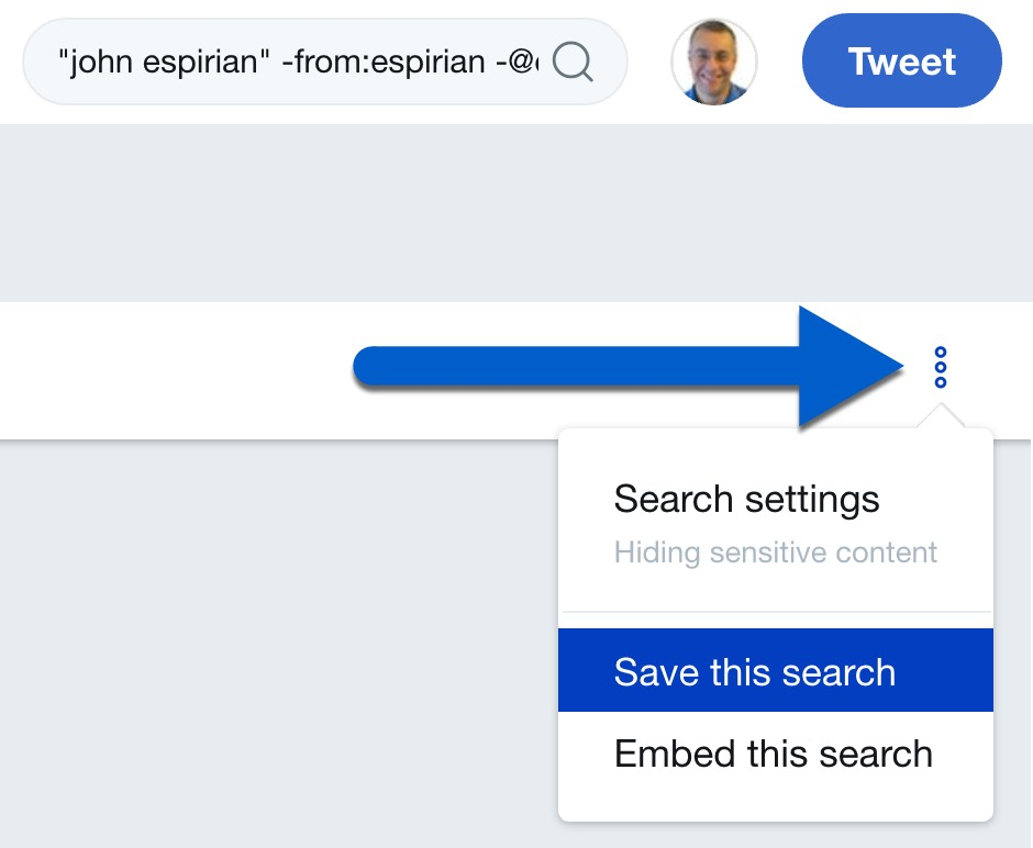 Save your search on desktop Twitter