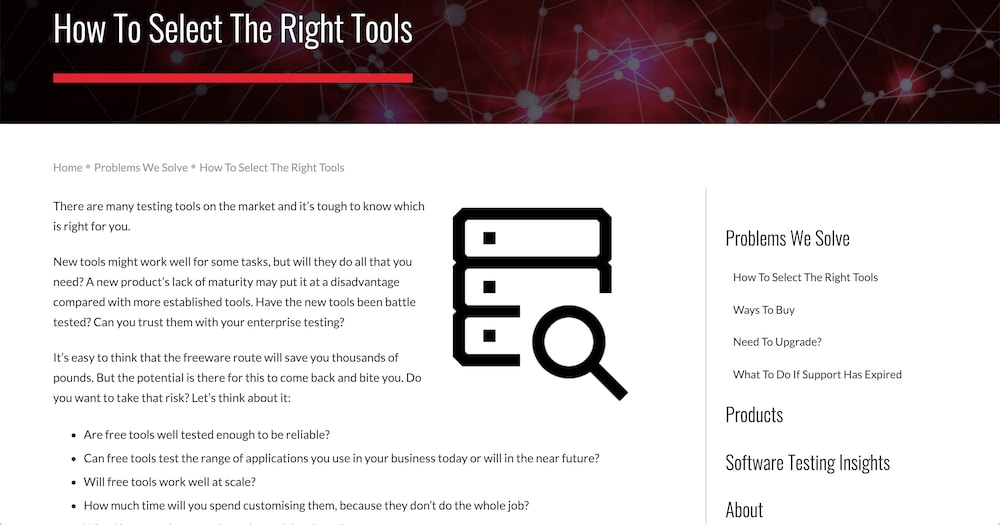 Calleo Software 'How to select the right tools' page