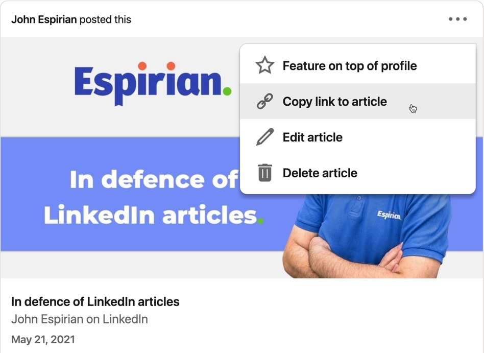 Getting a link to a LinkedIn article