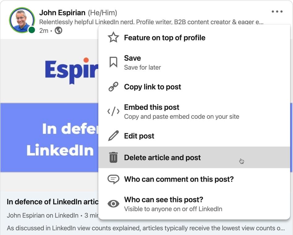 Sharing LinkedIn articles