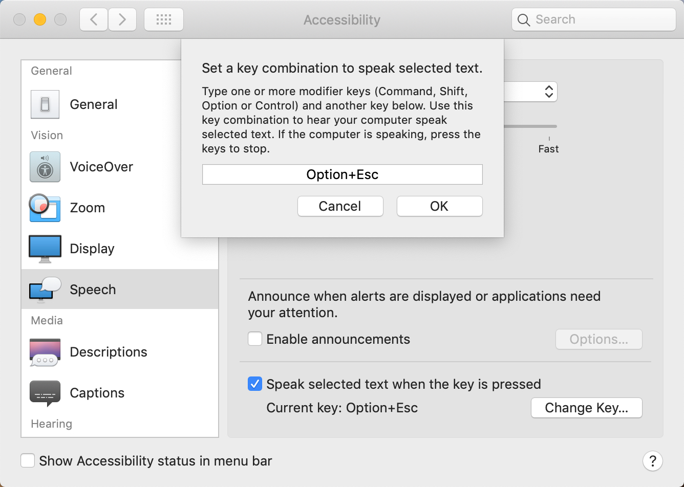 Choose an alternative key combination for the text-to-speech feature on Mac