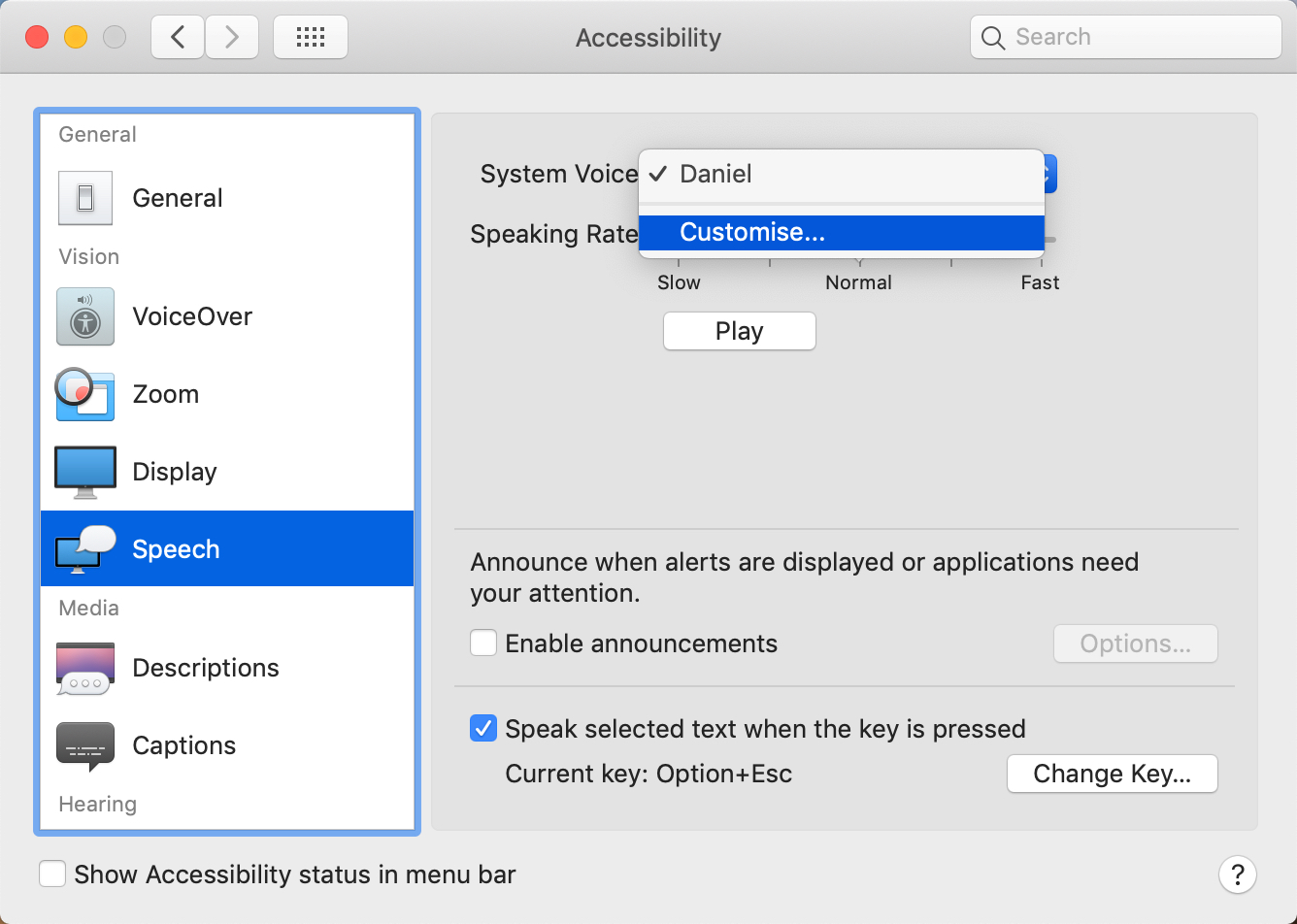 Customise the voice in the Accessibility panel on Mac