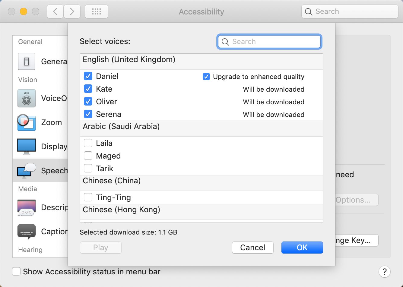 Choose the voices to download for the text-to-speech feature on a Mac