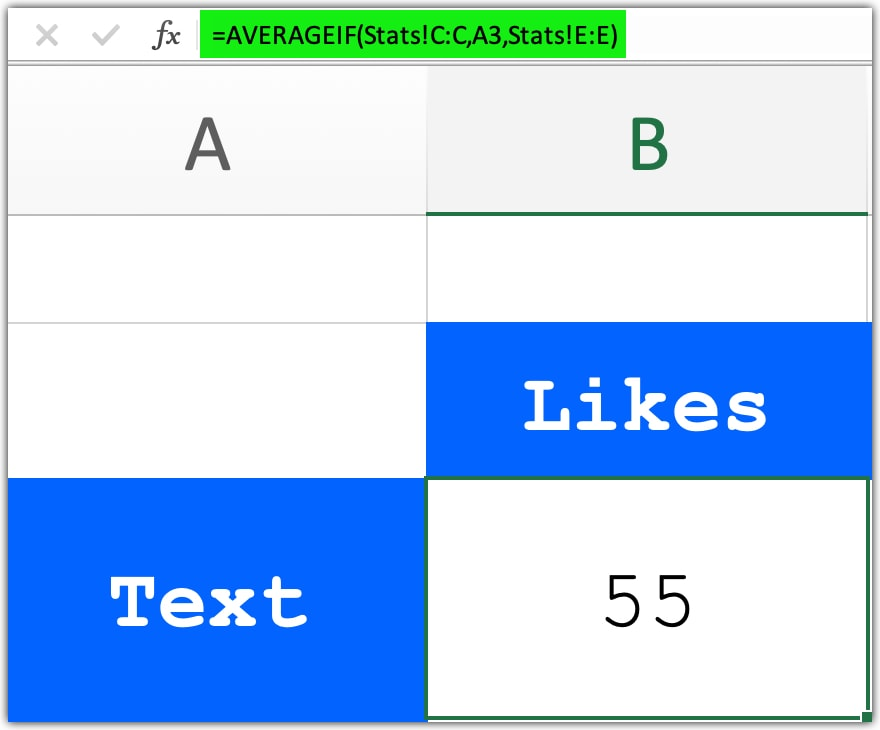 AVERAGEIF formula to calculate average likes, comments, views and shares