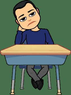 BitmoJohn looking bored at a desk