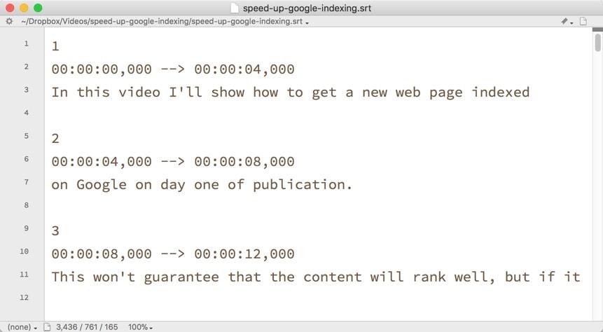 A sample SRT caption file