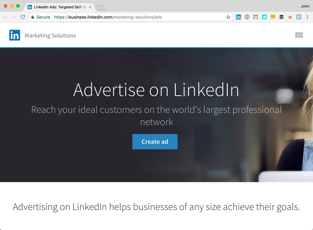 Create ad button on LinkedIn