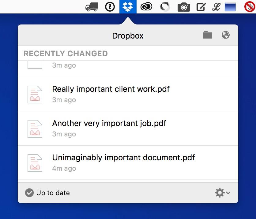 Dropbox sync menu