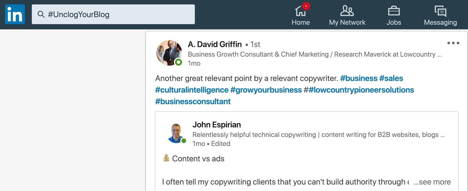 LinkedIn post share sample