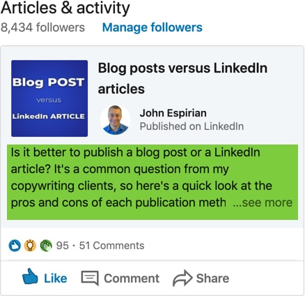 LinkedIn article preview on profile