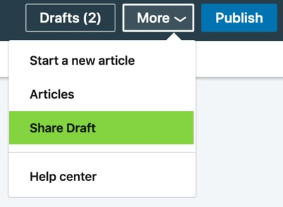 Share a draft for a LinkedIn article