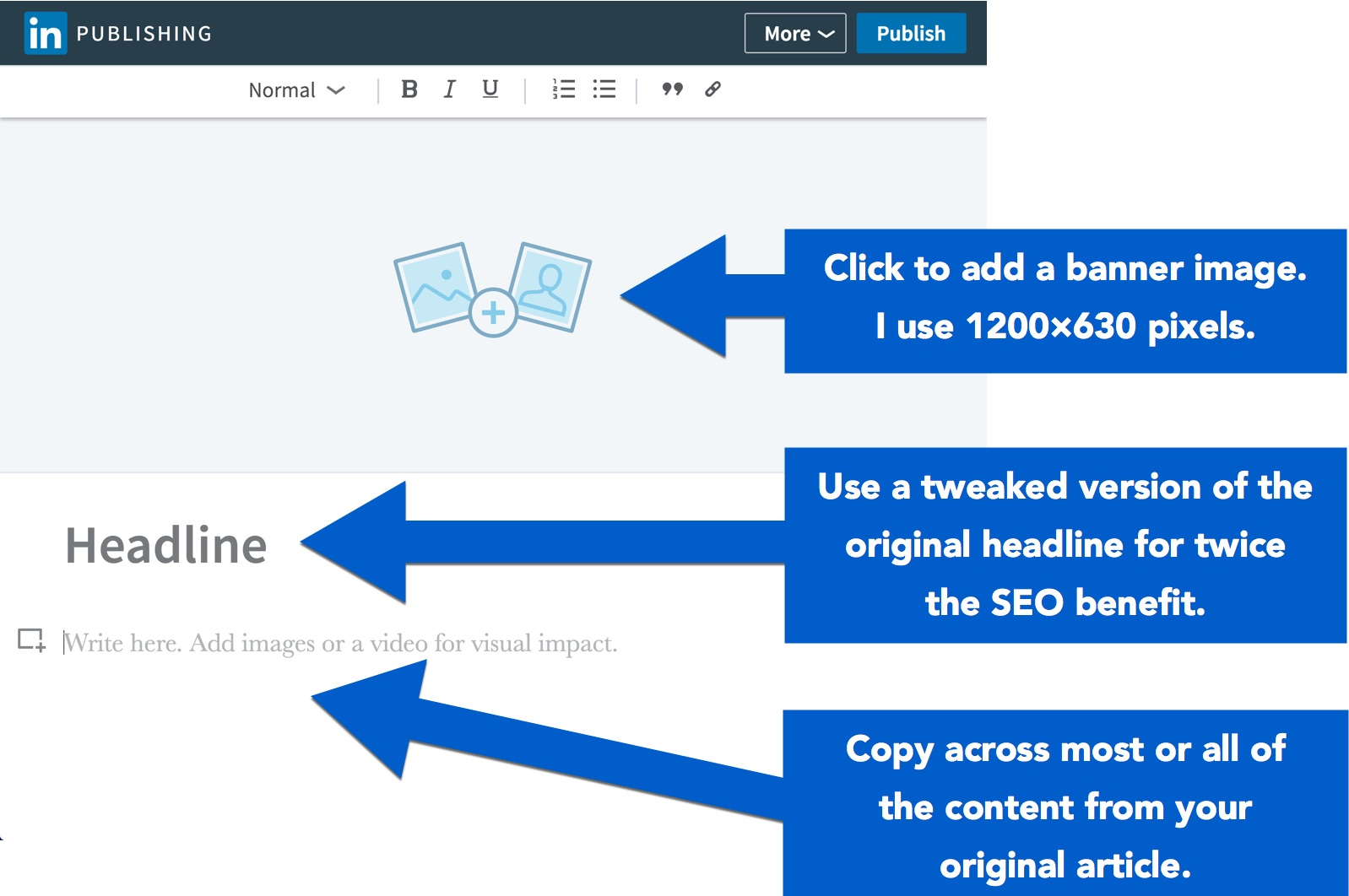 Add a banner, headline and content to your LinkedIn article