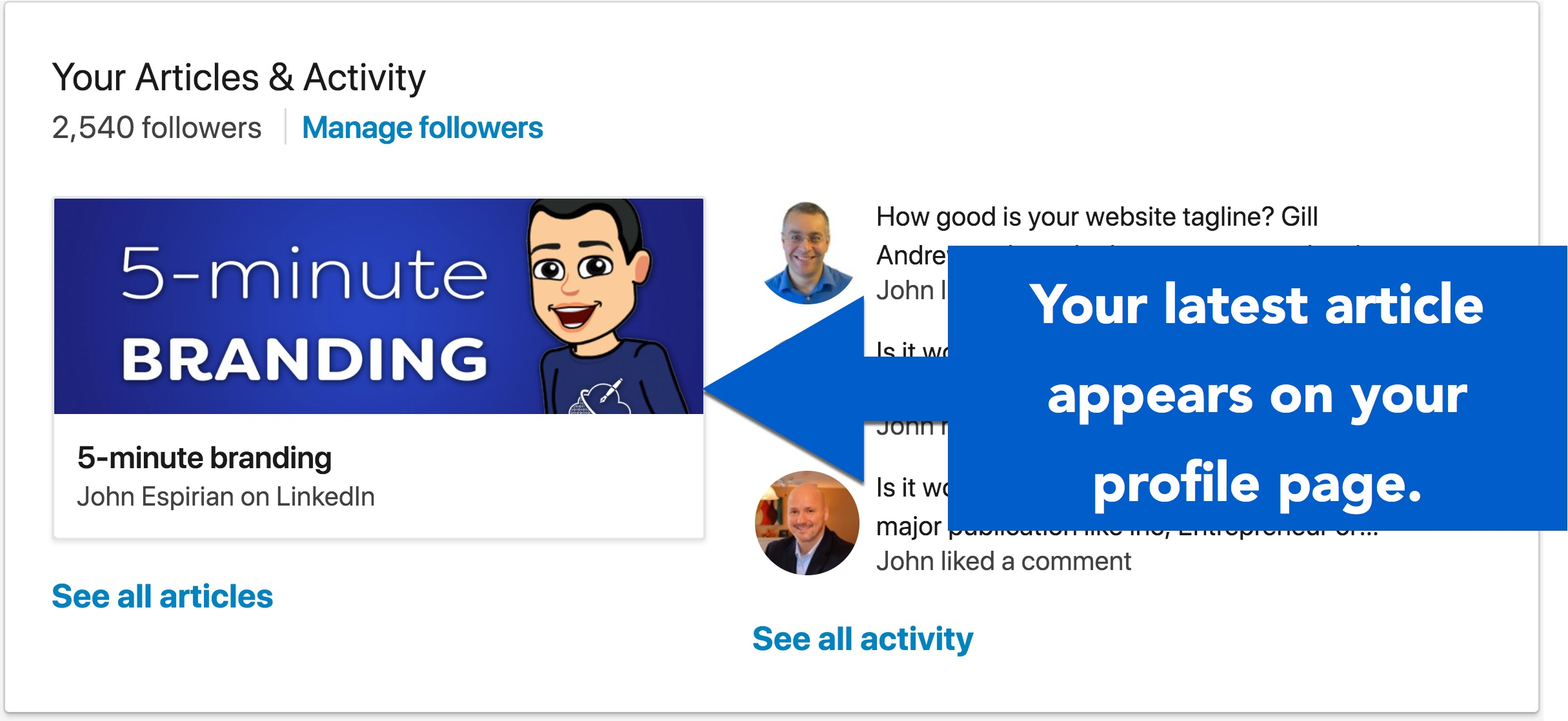 Your most recent article is shown on your LinkedIn profile