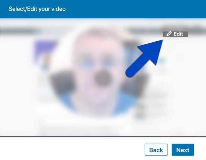 Click Edit to add SRT captions to LinkedIn videos