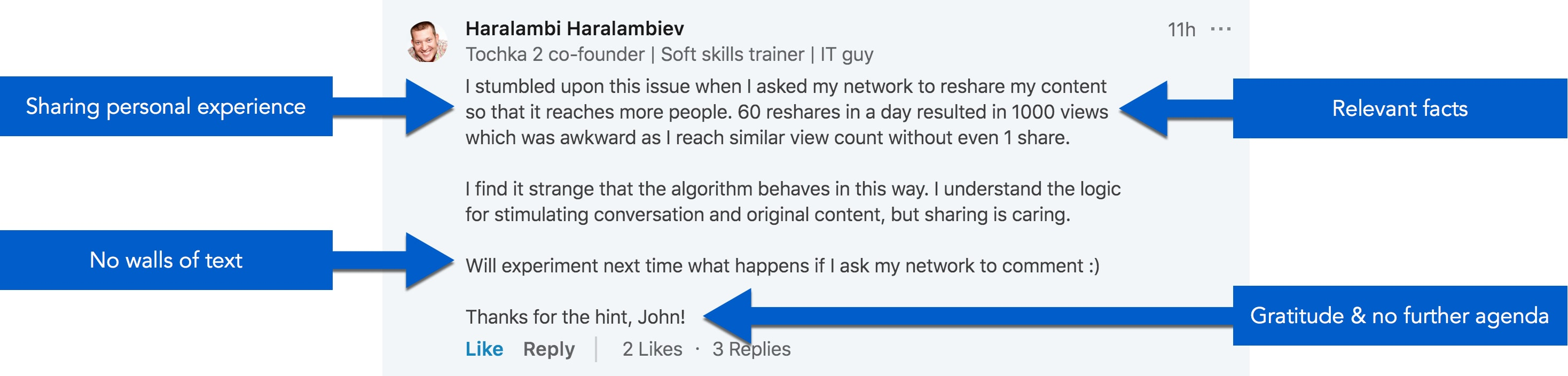Example of a good LinkedIn comment