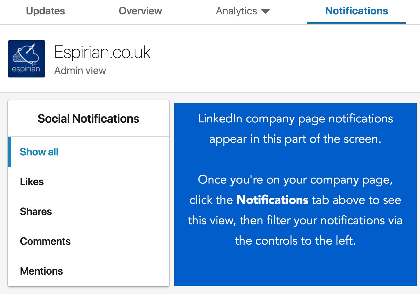 LinkedIn company page notifications