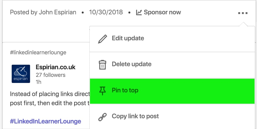 Pin to top feature on a LinkedIn company page post
