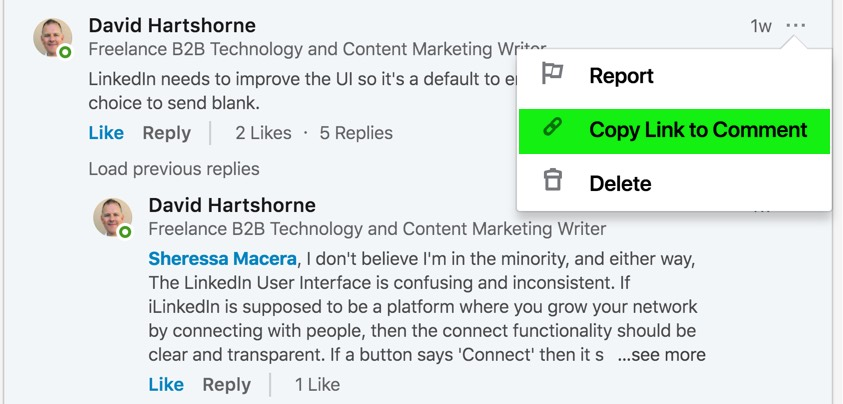 Copying a link to a LinkedIn comment