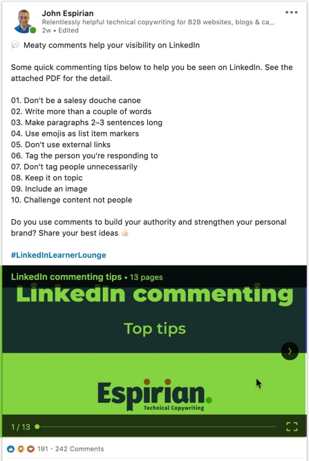 LinkedIn document post