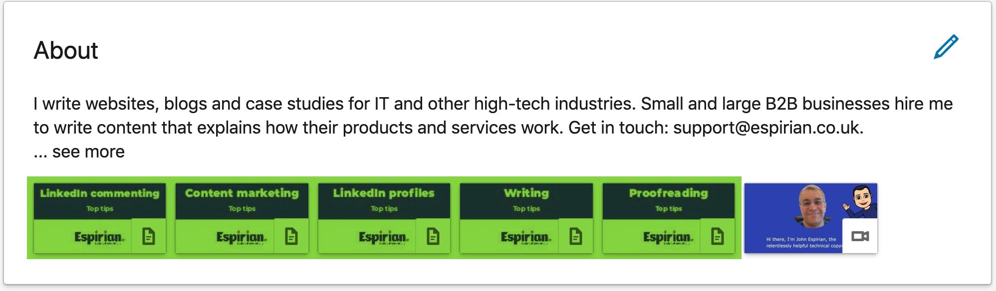 LinkedIn media items on my profile