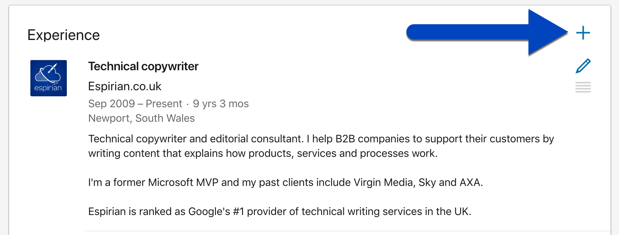 The Experience section of a LinkedIn profile