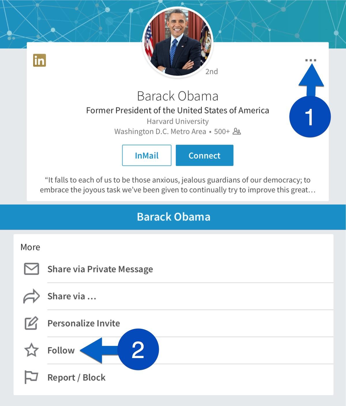 LinkedIn follow sample