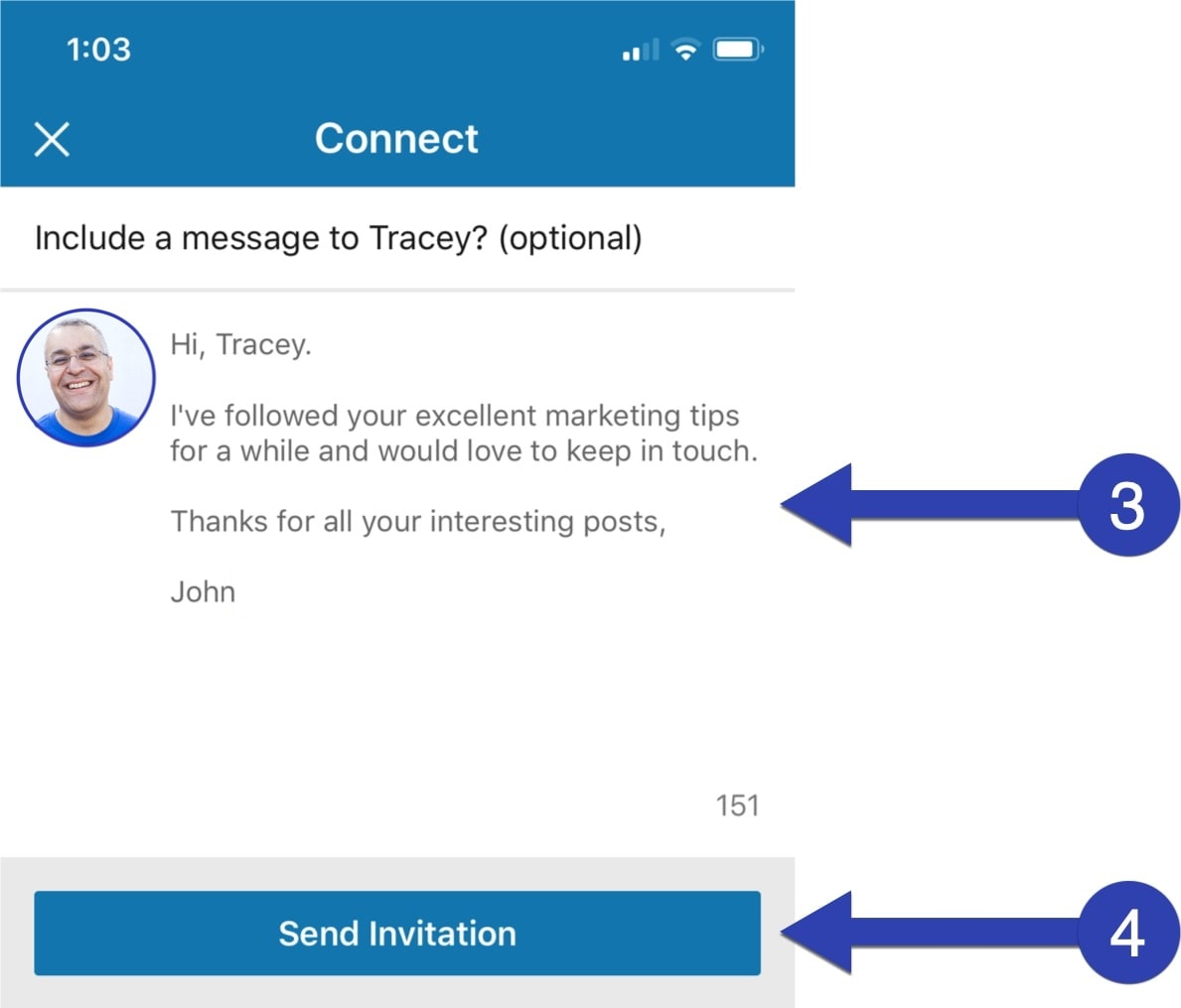 Enter your personalised message, then send the invitation