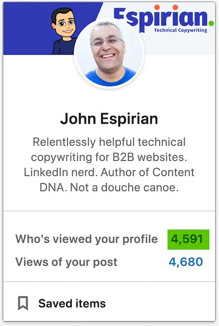 LinkedIn profile views are shown to the left of the home feed on desktop