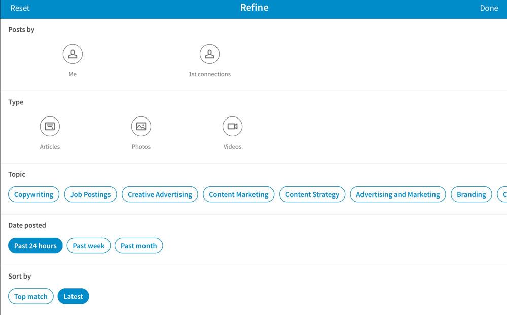 LinkedIn Refine screen