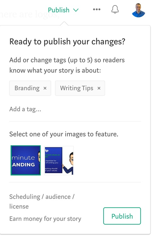 Add tags and pick a featured image