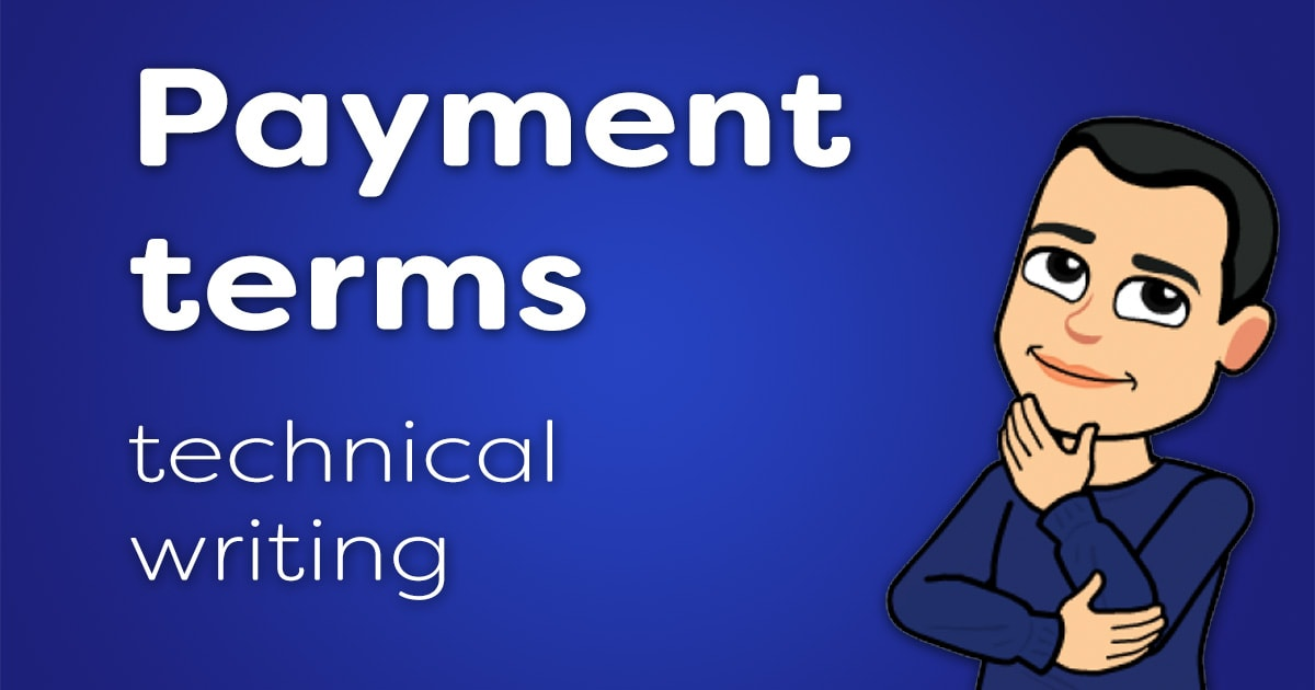 Payments terms for technical writing