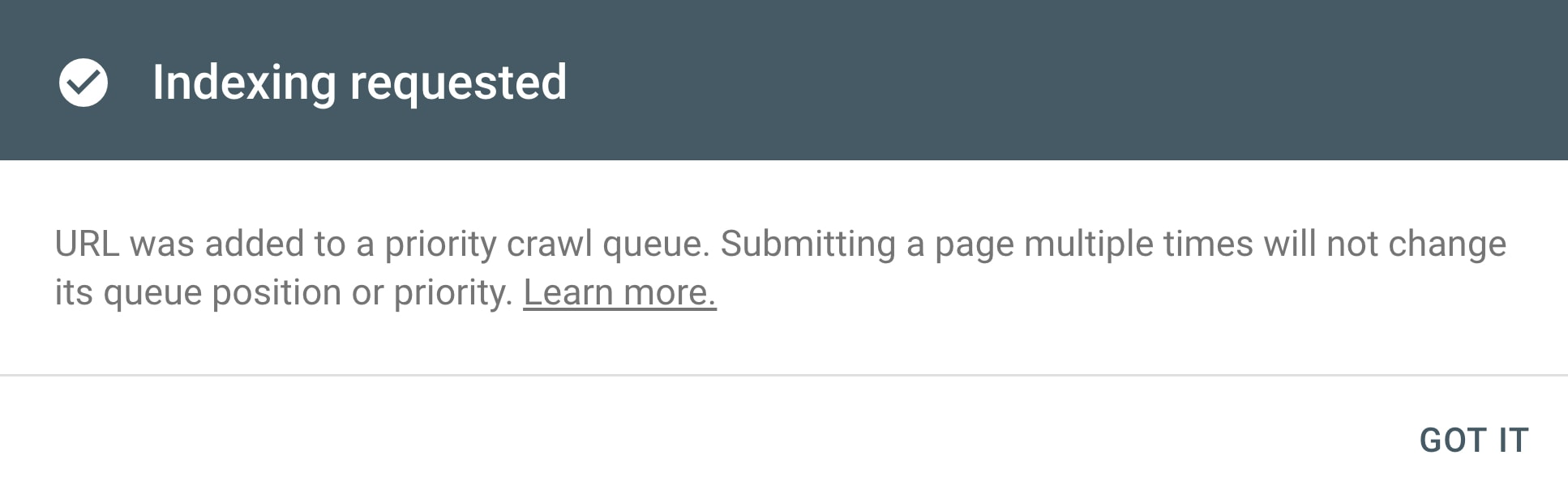A page has been submitted for indexing in the Google Search Console