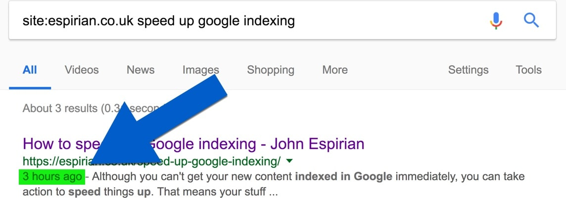Google index showing this post was indexed quickly