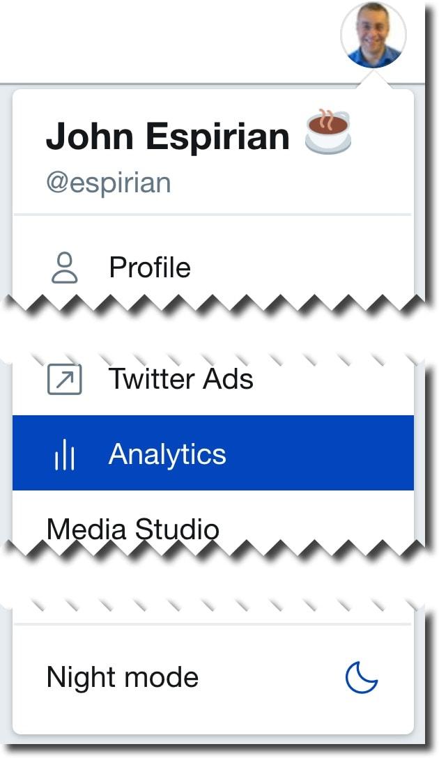 Twitter menu: Analytics