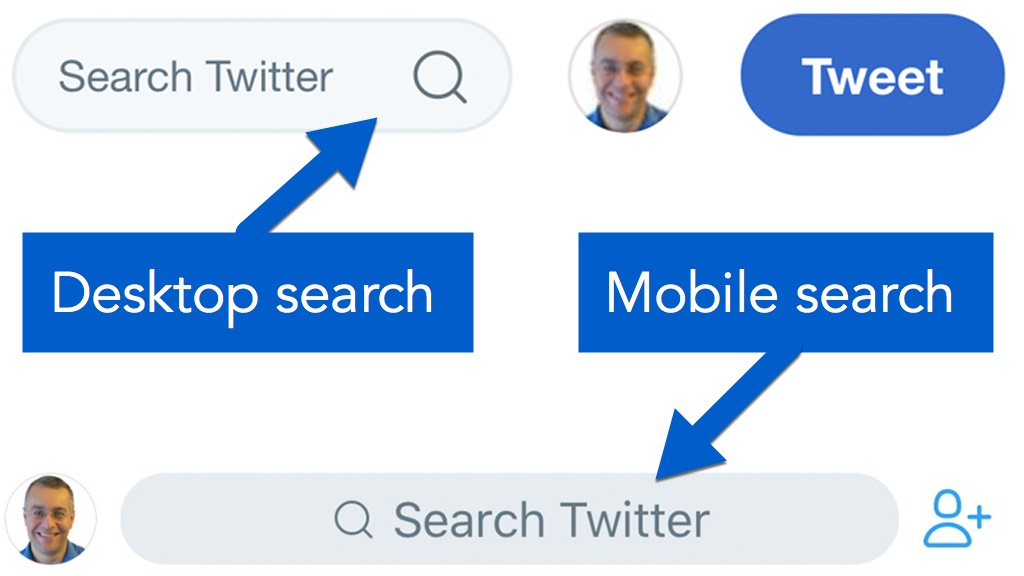 Twitter search on desktop and mobile