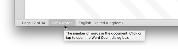 Word count shown during editing