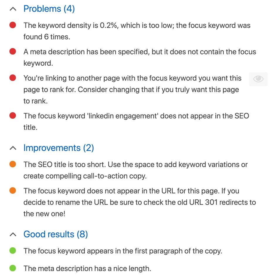 Sample report from Yoast SEO inside the WordPress editor