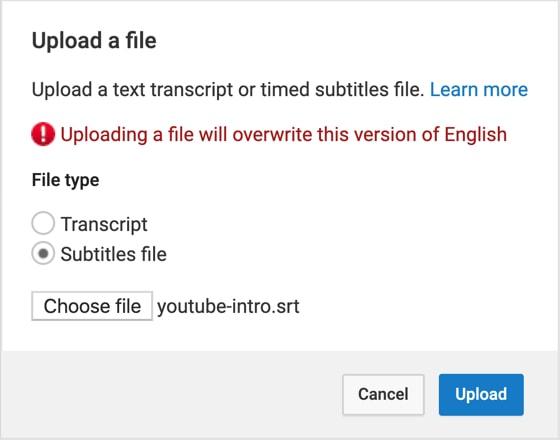 Upload an SRT file on YouTube