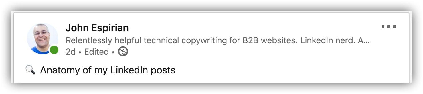 LinkedIn post headline