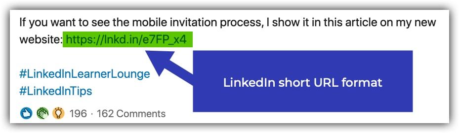 LinkedIn short URL format