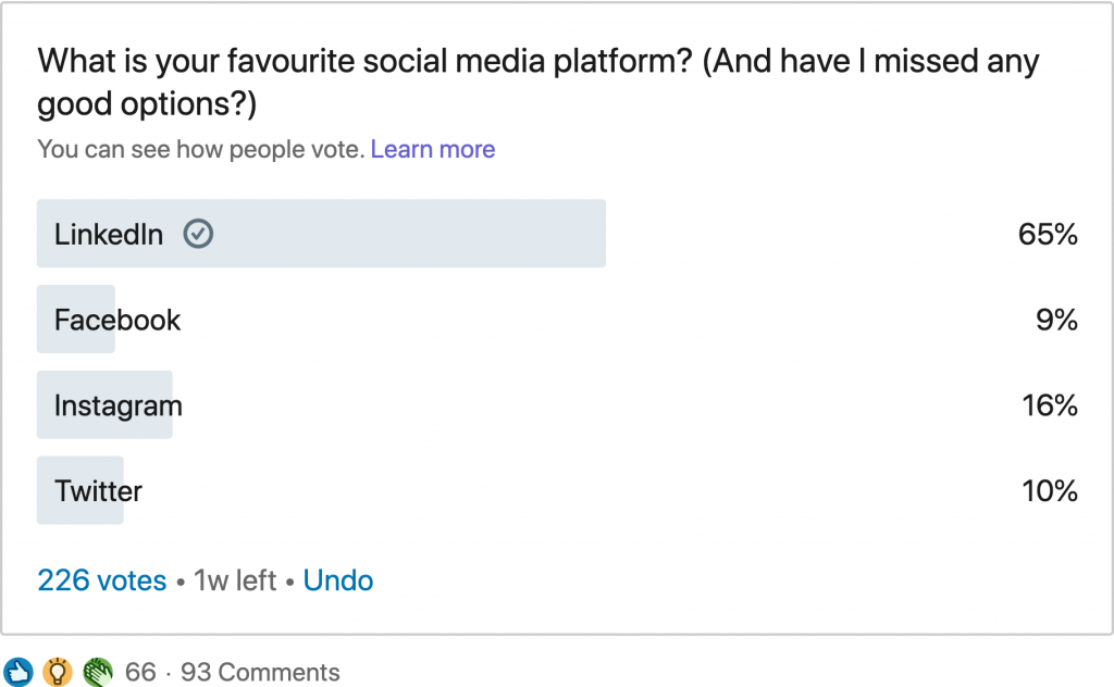 Ongoing LinkedIn poll results
