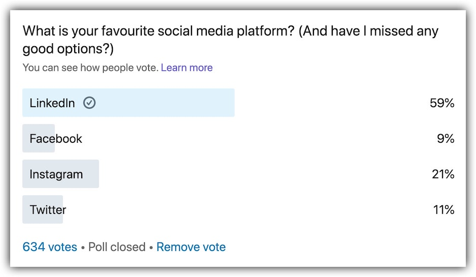 LinkedIn poll results closed